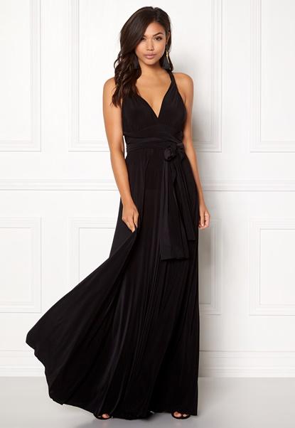Goddiva Multi Tie Maxi Dress Black Bubbleroom.se
