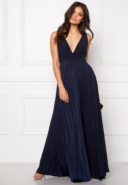Goddiva Pleated Oscar Dress Navy Bubbleroom.dk