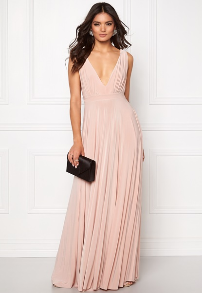 Goddiva Pleated Oscar Dress Nude Bubbleroom.fi
