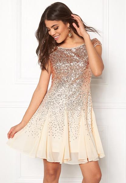 Goddiva Sequin And Chiffon Dress Champagne Bubbleroom.se