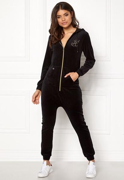 Happy Holly Nicole velour jumpsuit Black Bubbleroom.fi