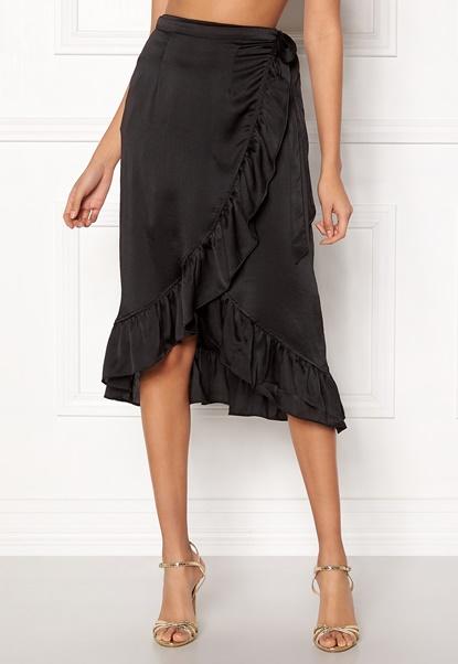 VERO MODA Henna Shine Wrap Skirt Black Bubbleroom.dk