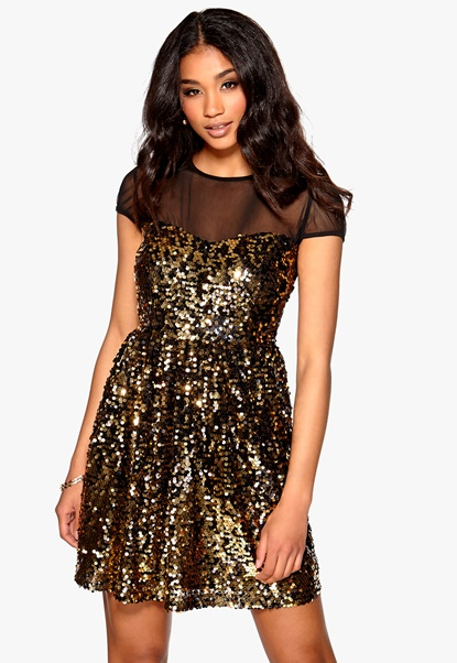 Model Behaviour Klara Dress Gold Bubbleroom.no