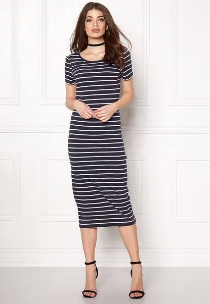 ONLY Abbie Stripe Calf Dress Night Sky Stripe Bubbleroom.fi
