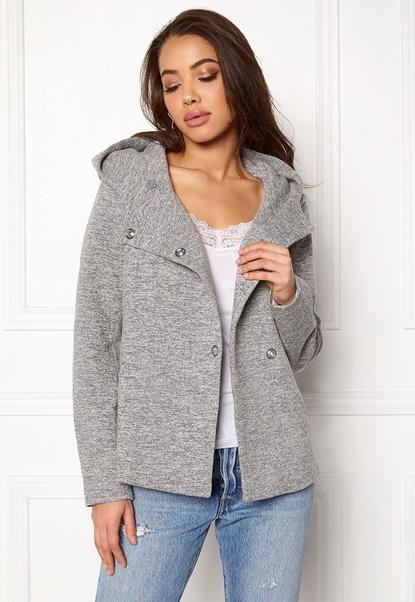 ONLY Fairy Mel Hooded Short Jacket Light Grey Melange Bubbleroom.se