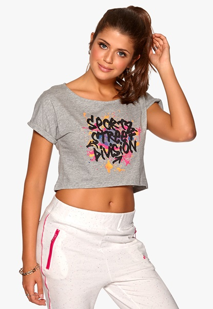ONLY PLAY Rachelle Cropped Tee Light Grey Melange Bubbleroom.se