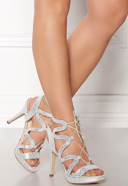 SARGOSSA Chic Pattern Leather Heels Silver Bubbleroom.se