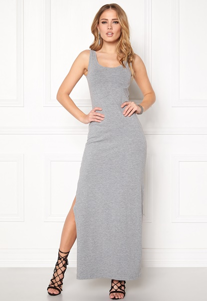 VILA Honesty New Maxi Dress Light Grey Melange Bubbleroom.se