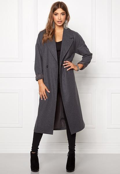 VILA Saka Long Coat Medium Grey Melange Bubbleroom.eu