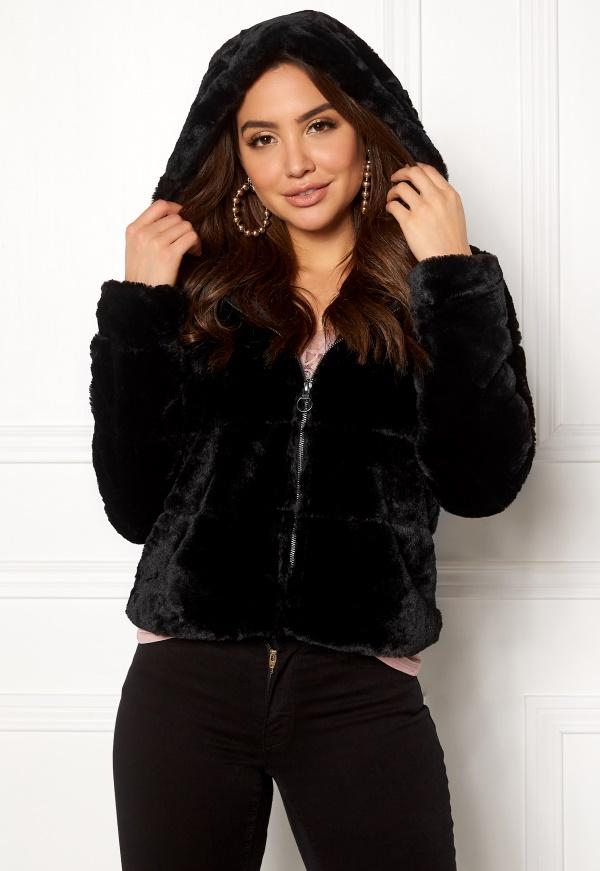 Only Chris Fur Hooded Jacket Black Bubbleroom