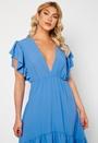Frill Sleeve V Neck Midaxi Dress