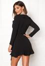 John Zack Wrap Frill Mini Dress Black
