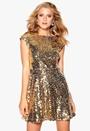Model Behaviour Saga Dress Gold Bubbleroom.no