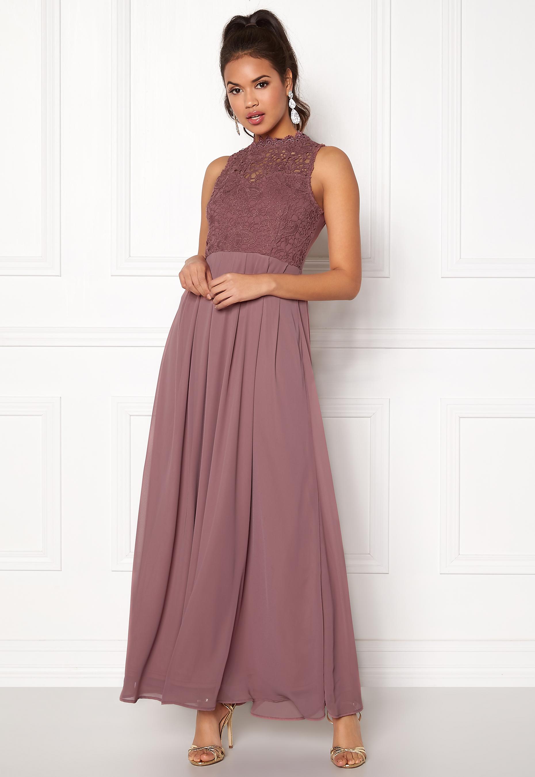 5032d2785a49 AX Paris Crochet Top Chiffon Maxi Dress Mauve - Bubbleroom