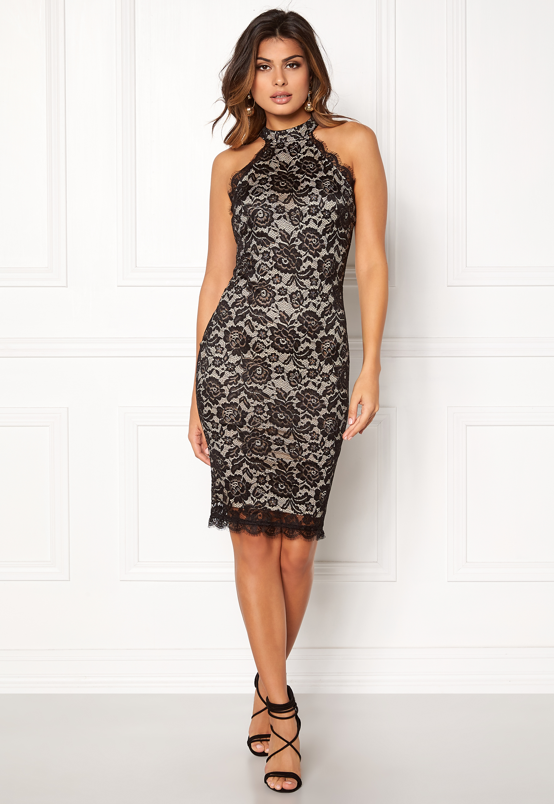 Navy Floor Length Fitted Dress With Lace Detail - AX Paris