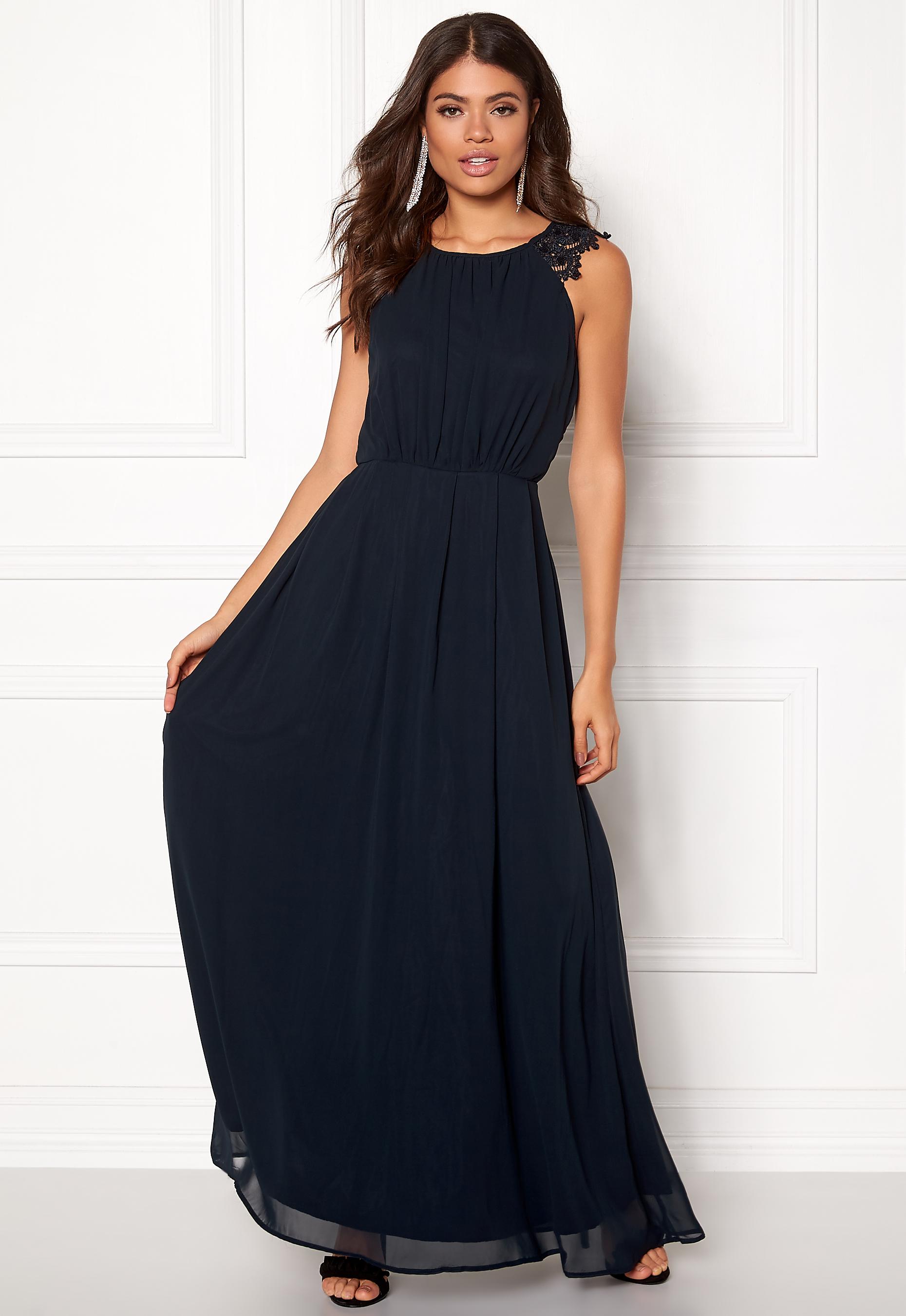 AX Paris Lace Trim Chiffon Maxi Dress Navy Bubbleroom.se 324edccfb7a52