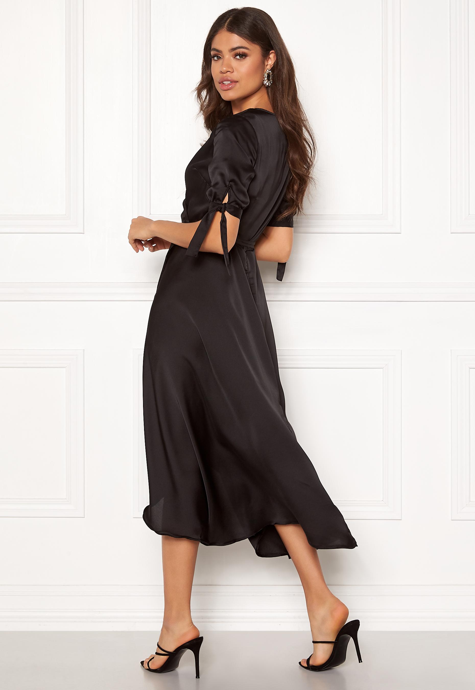 AX Paris Wrap Front Printed Dress Black Bubbleroom