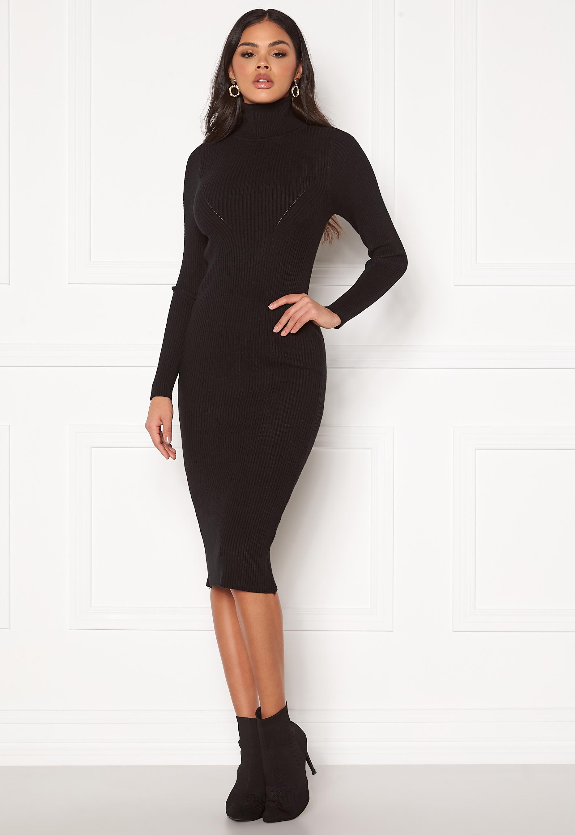 Blue Vanilla Rib Knit Midi Dress Black L (UK14) Klänningar