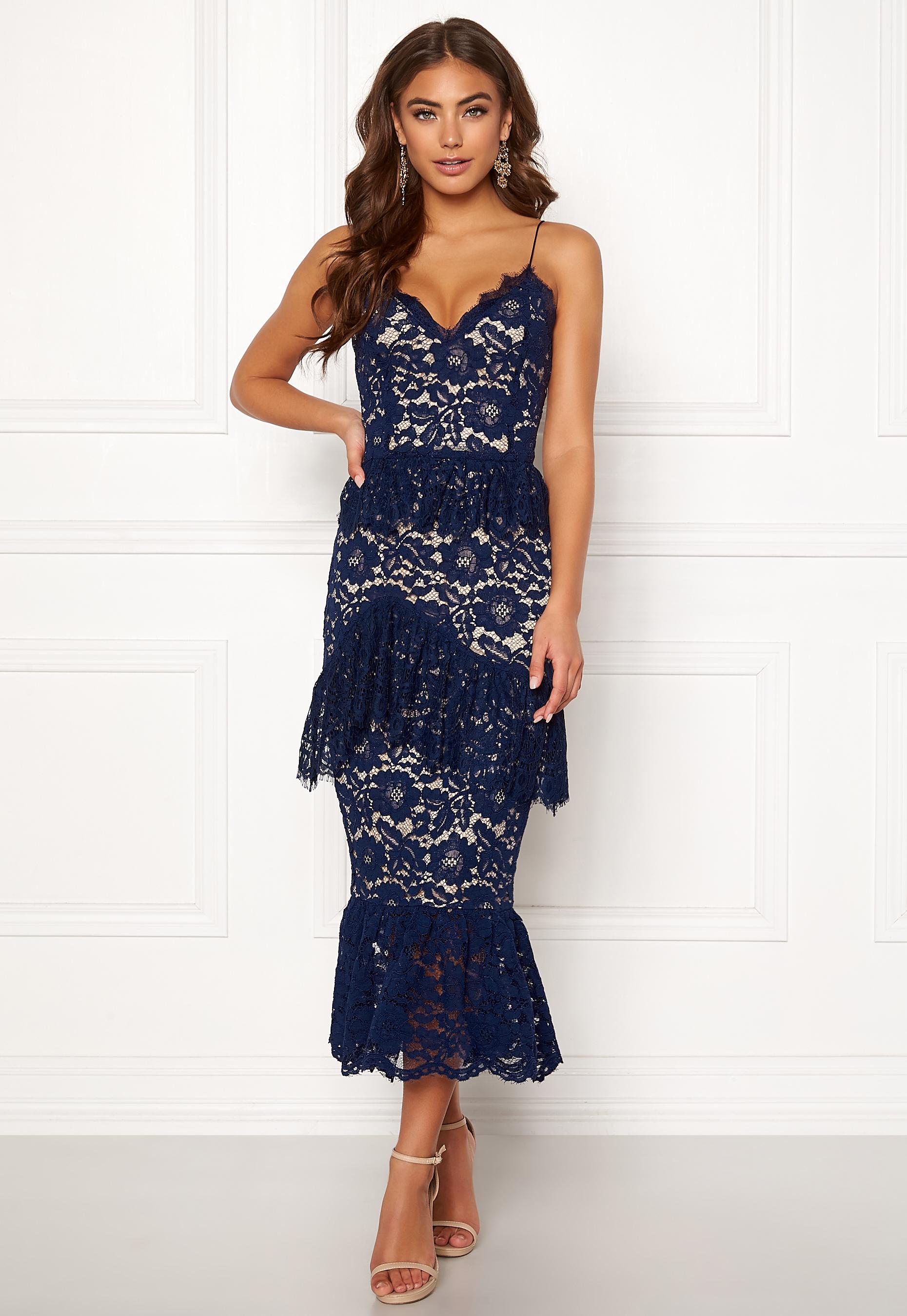 BUBBLEROOM Carolina Gynning flouncy lace dress Dark blue