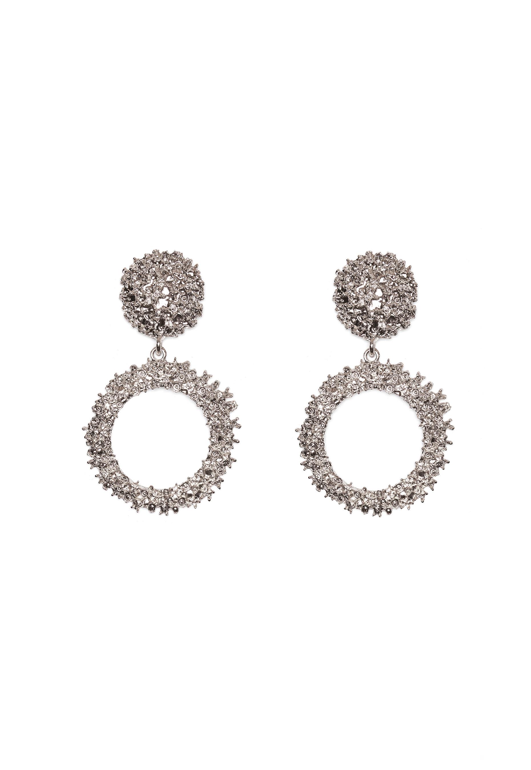 bubbleroom crystal earrings silver coloured