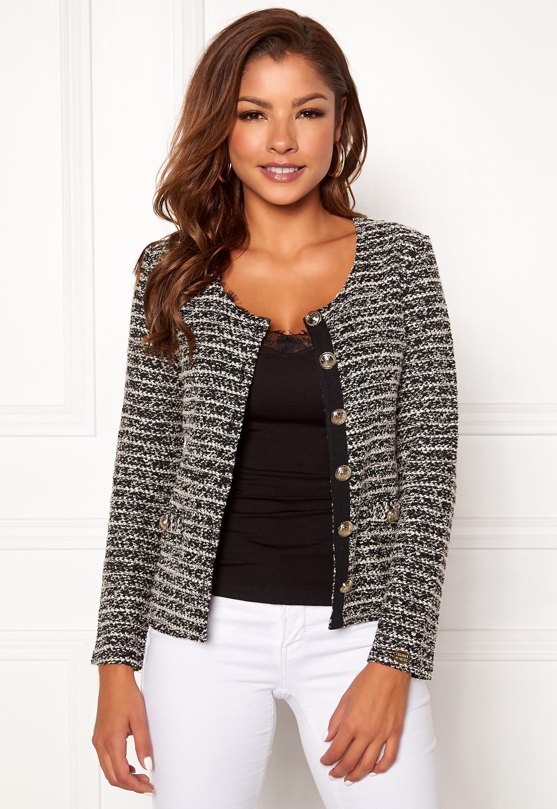 19c329b1d93f Chiara Forthi Charlize jersey jacket Black / Offwhite - Bubbleroom