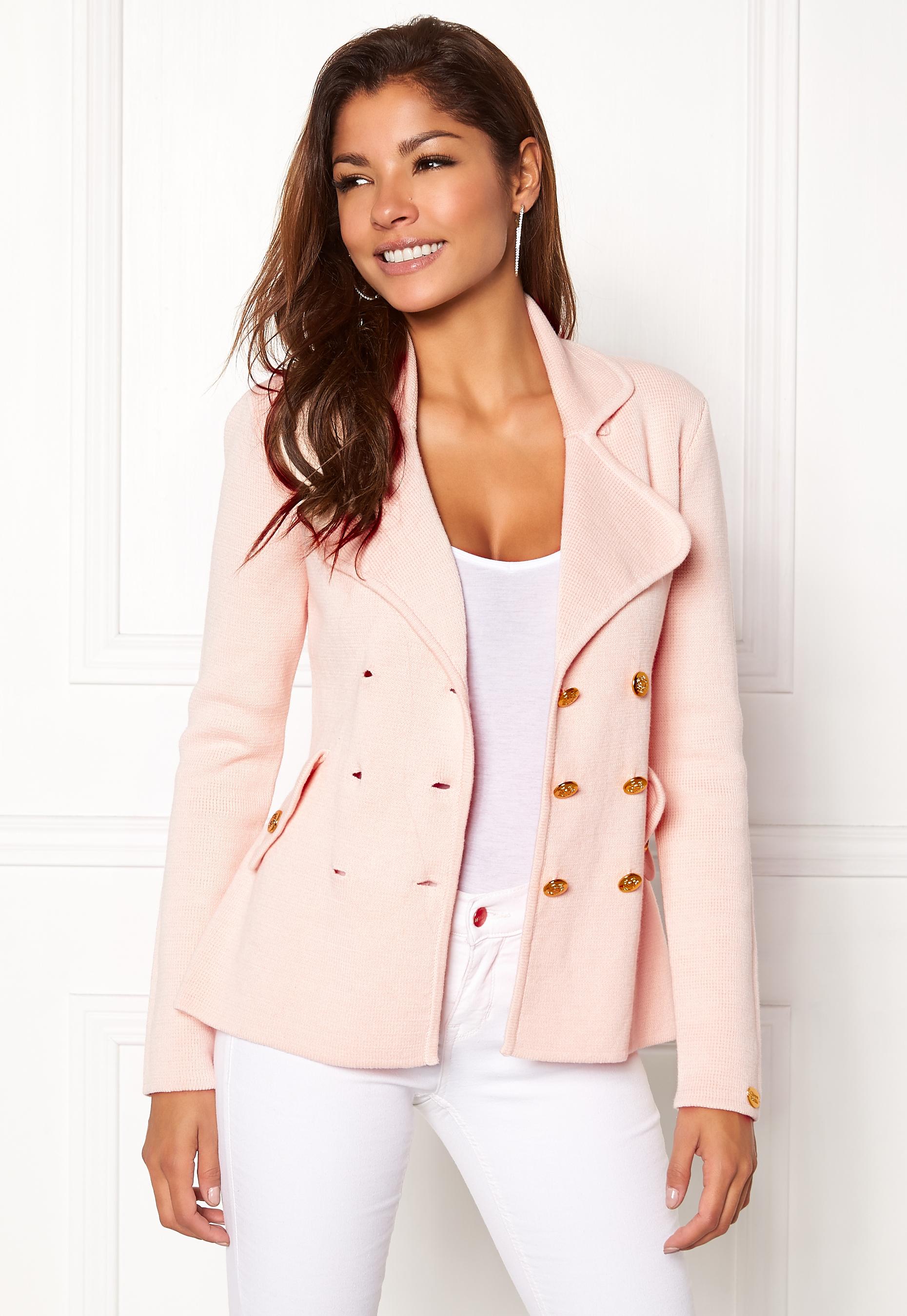 Chiara Forthi Chiara Heavy Knit Blazer Light pink Bubbleroom.se 4d13e446652ef