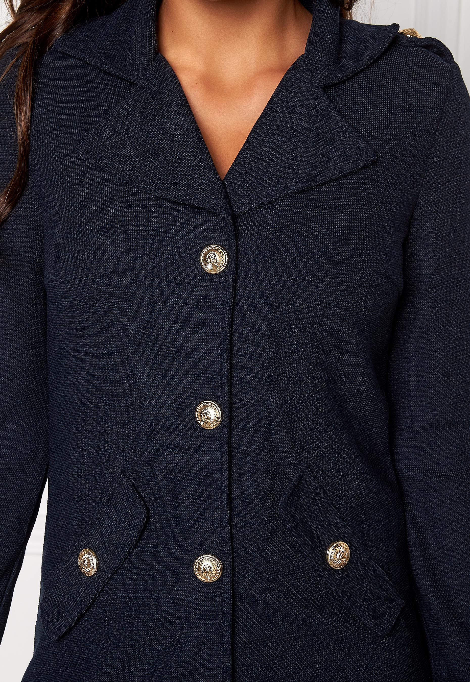 Chiara Forthi Utility Knit Coatigan Dark blue / Gold - Bubbleroom
