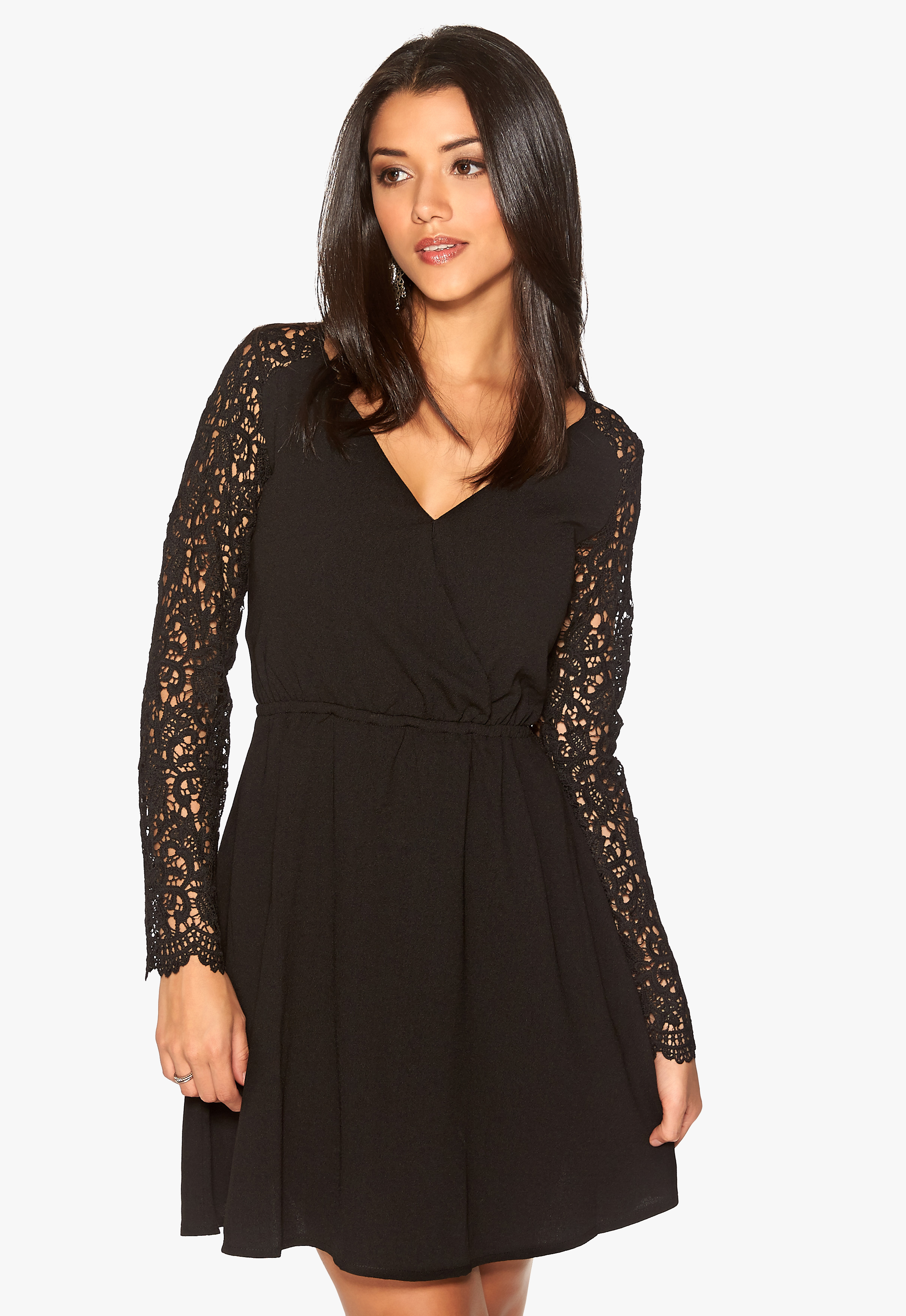 dry lake arille short lace dress black bubbleroom