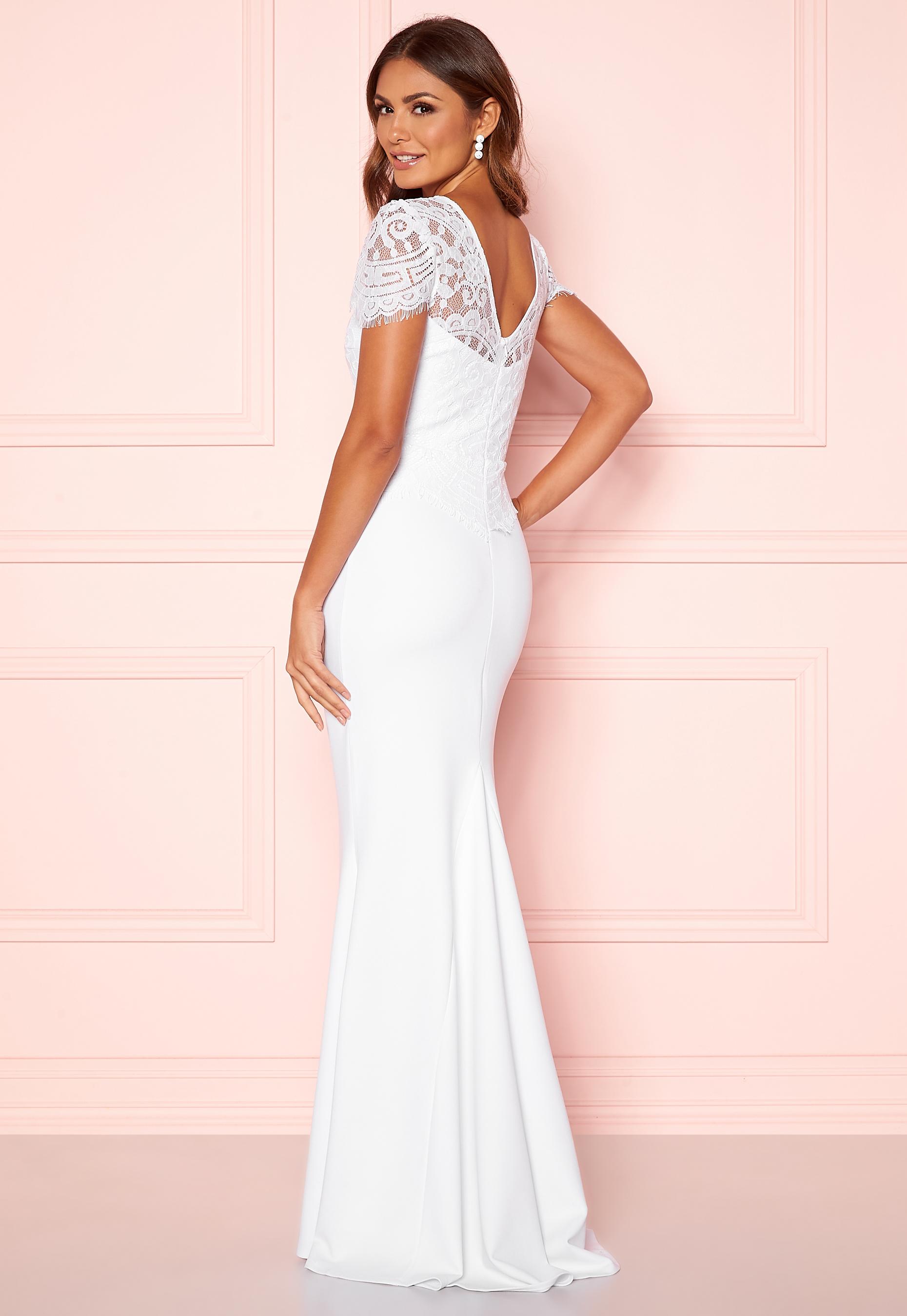 Goddiva Cap Sleeve Wedding Dress White Bubbleroom