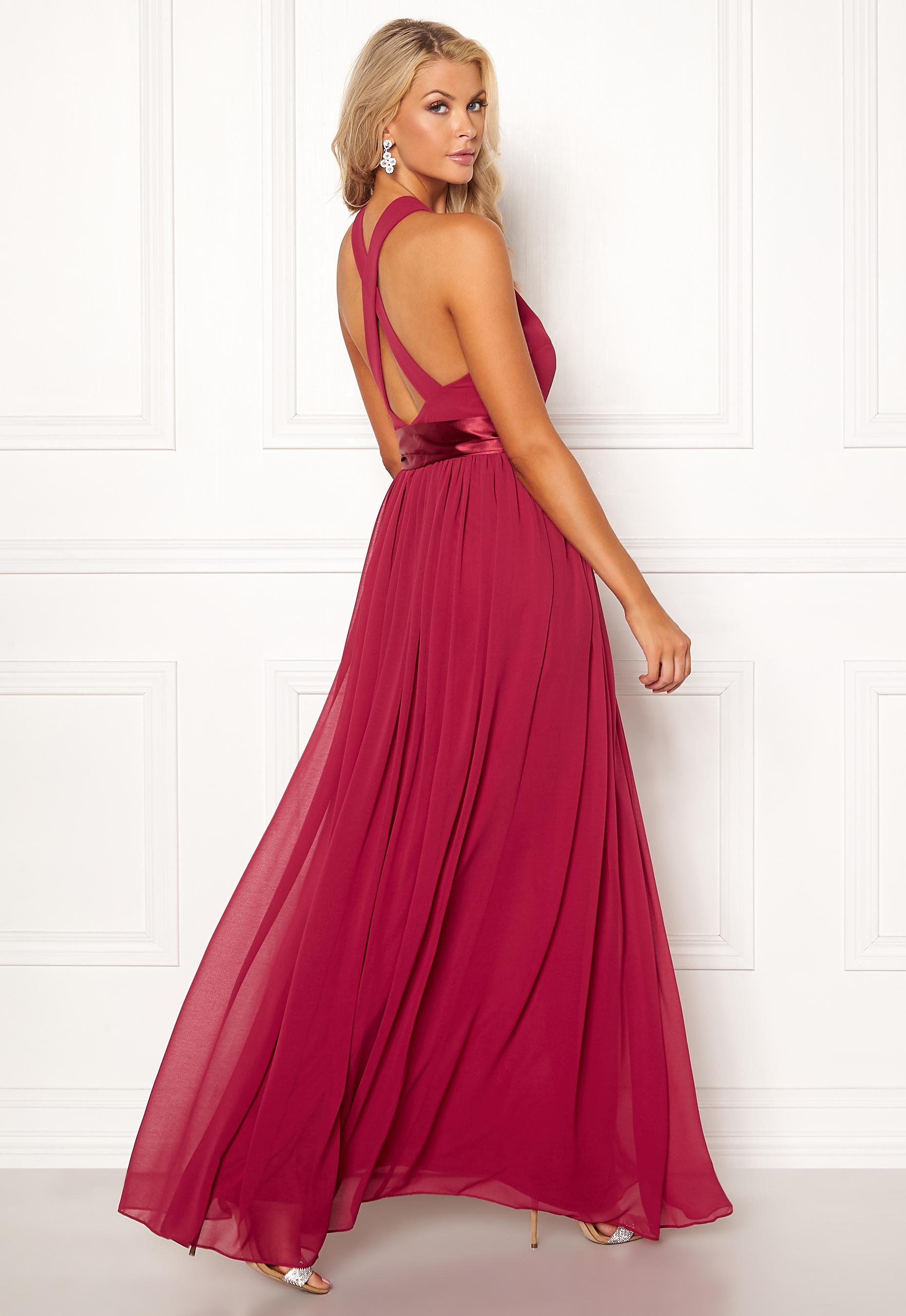 a44868713ffc Goddiva Cross Back Chiffon Dress Raspberry - Bubbleroom