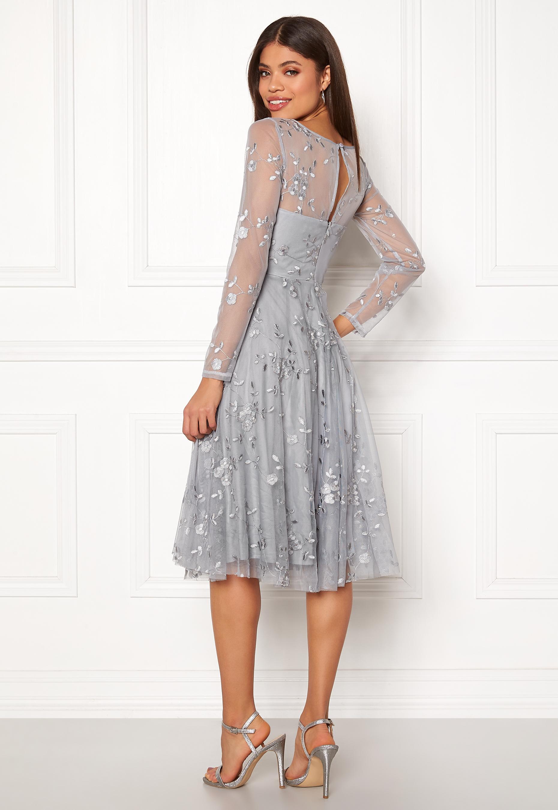 Goddiva Embroidered Midi Dress Grey Bubbleroom