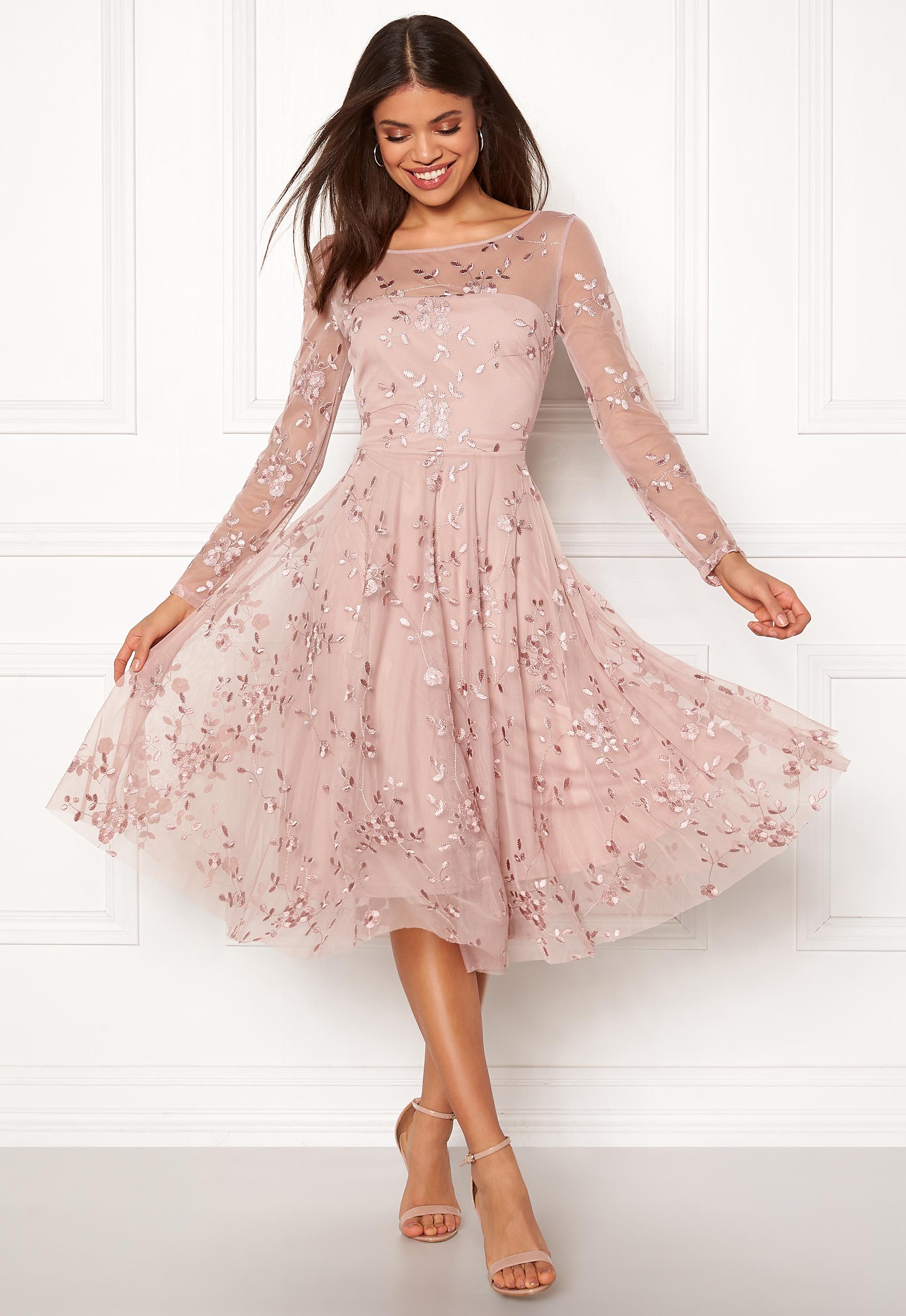 Goddiva Embroidered Midi Dress Misty Rose Bubbleroom