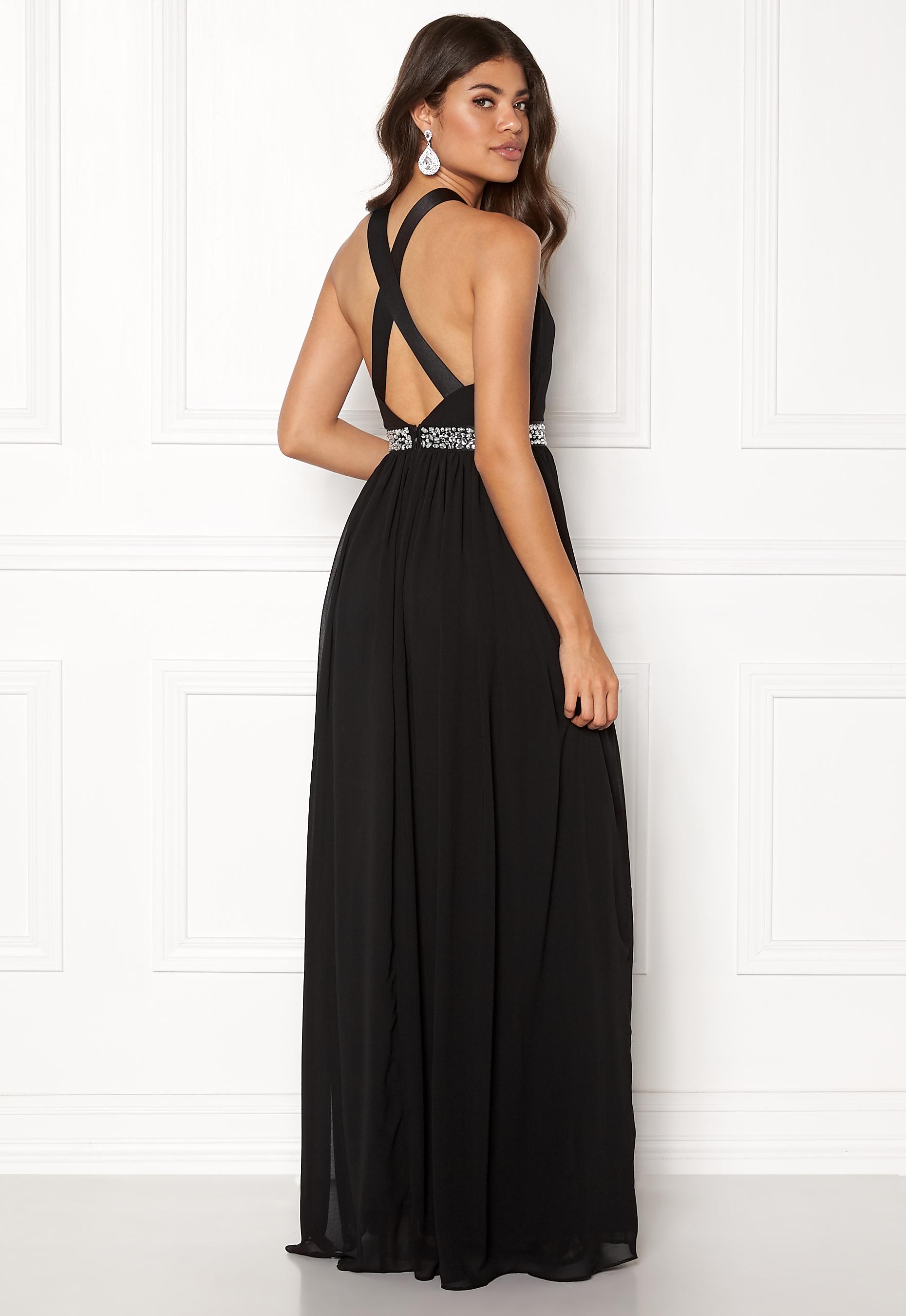 63196767d93a Goddiva Halter Neck Chiffon Dress Black - Bubbleroom