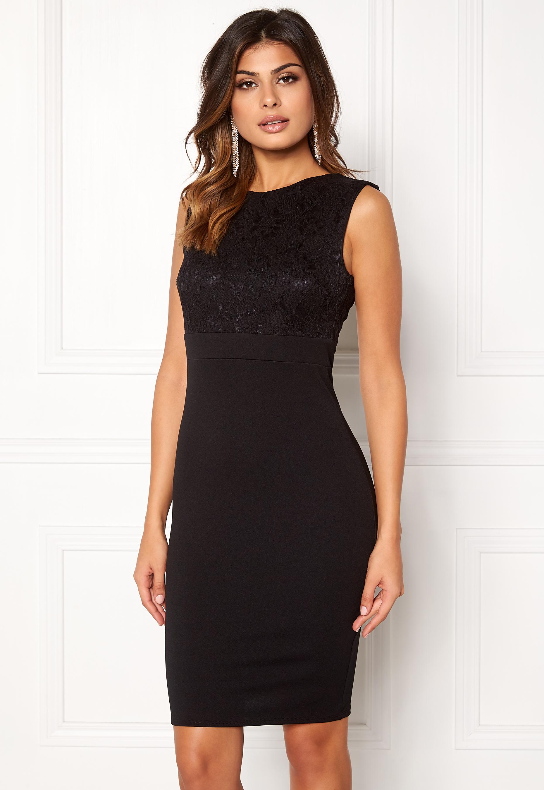 goddiva sleeveless lace dress black bubbleroom