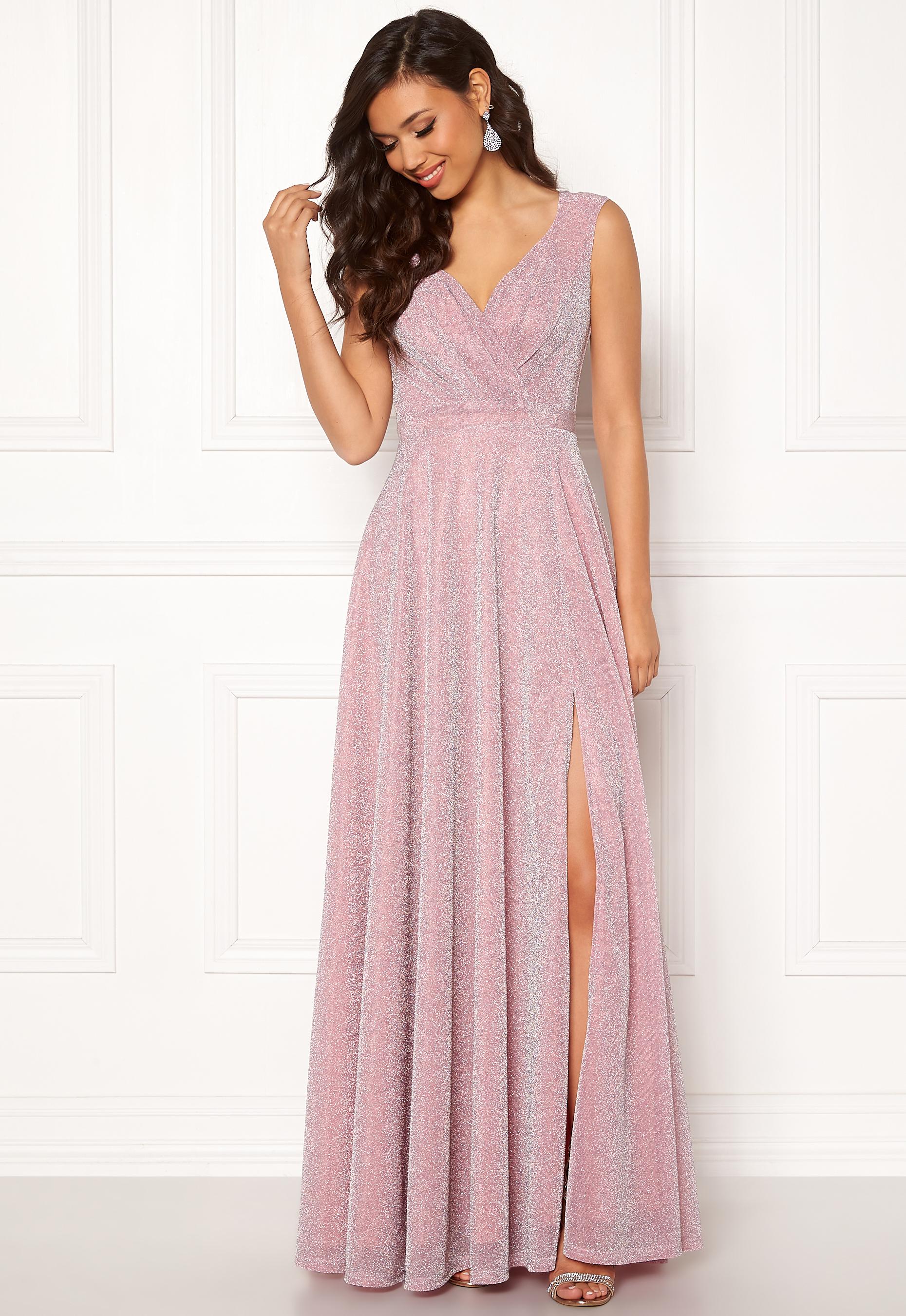Diva Glitter Wrap Maxi Dress Pink Bubbleroom