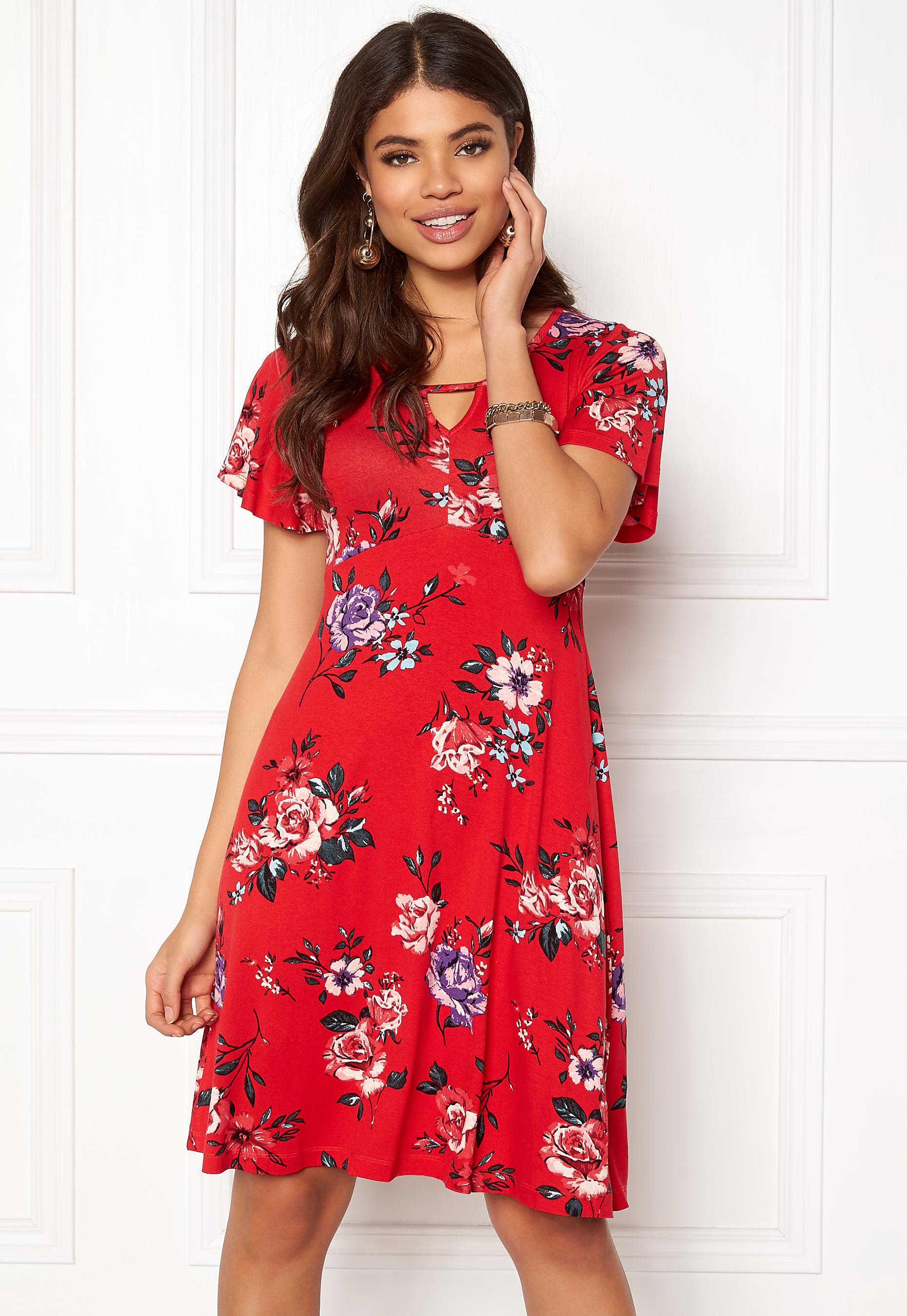 Happy Holly Scarlett dress Red Patterned Bubbleroom