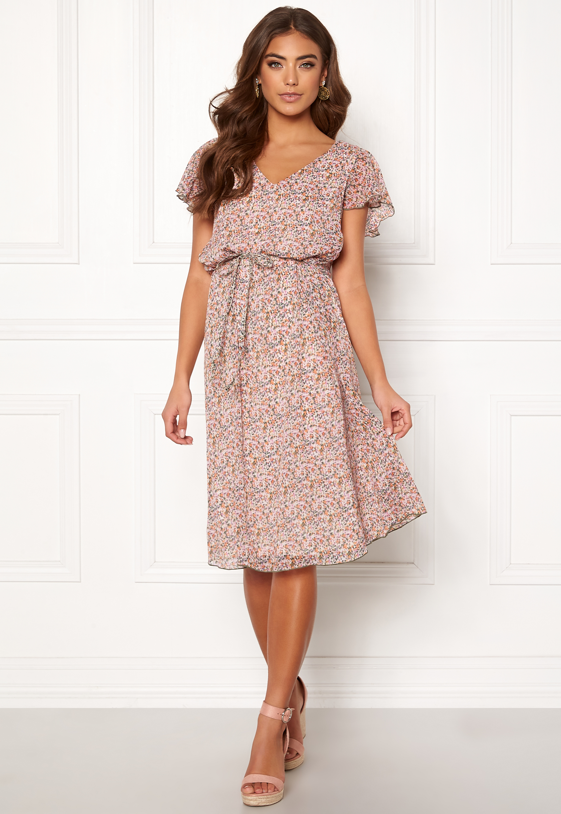 c8857652592 Jacqueline de Yong Jennifer S/S Frill Dress Shadow Gray - Bubbleroom