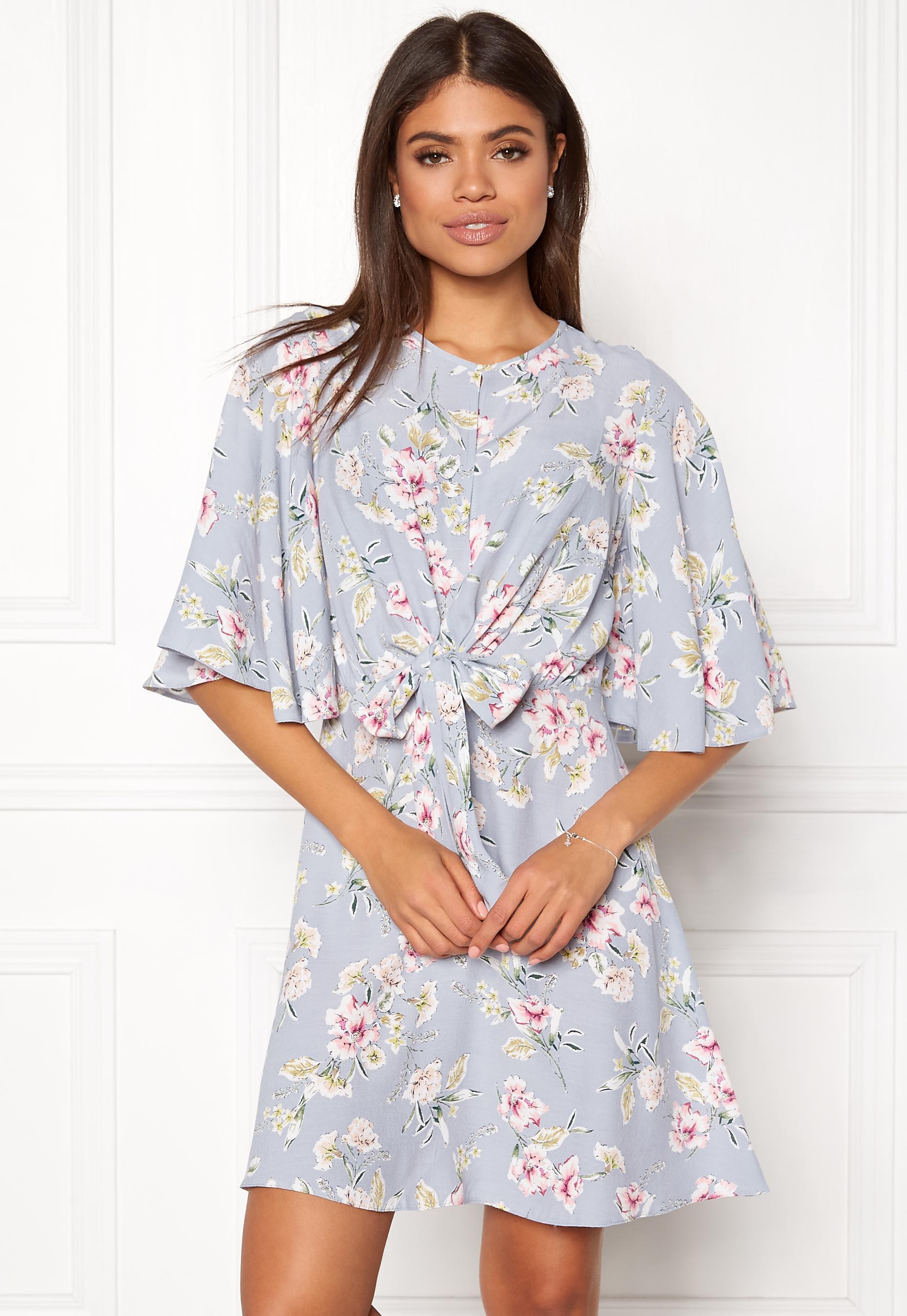 ca7a6216b0b7 New Look Frances Floral Knot Dress Light Grey - Bubbleroom