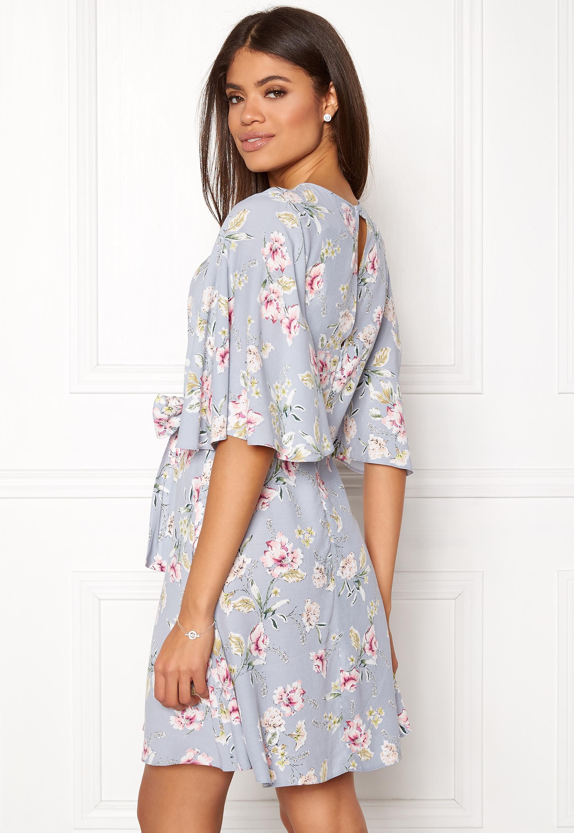 New Look Frances Floral Knot Dress Light Grey - Bubbleroom b1233c87efeab