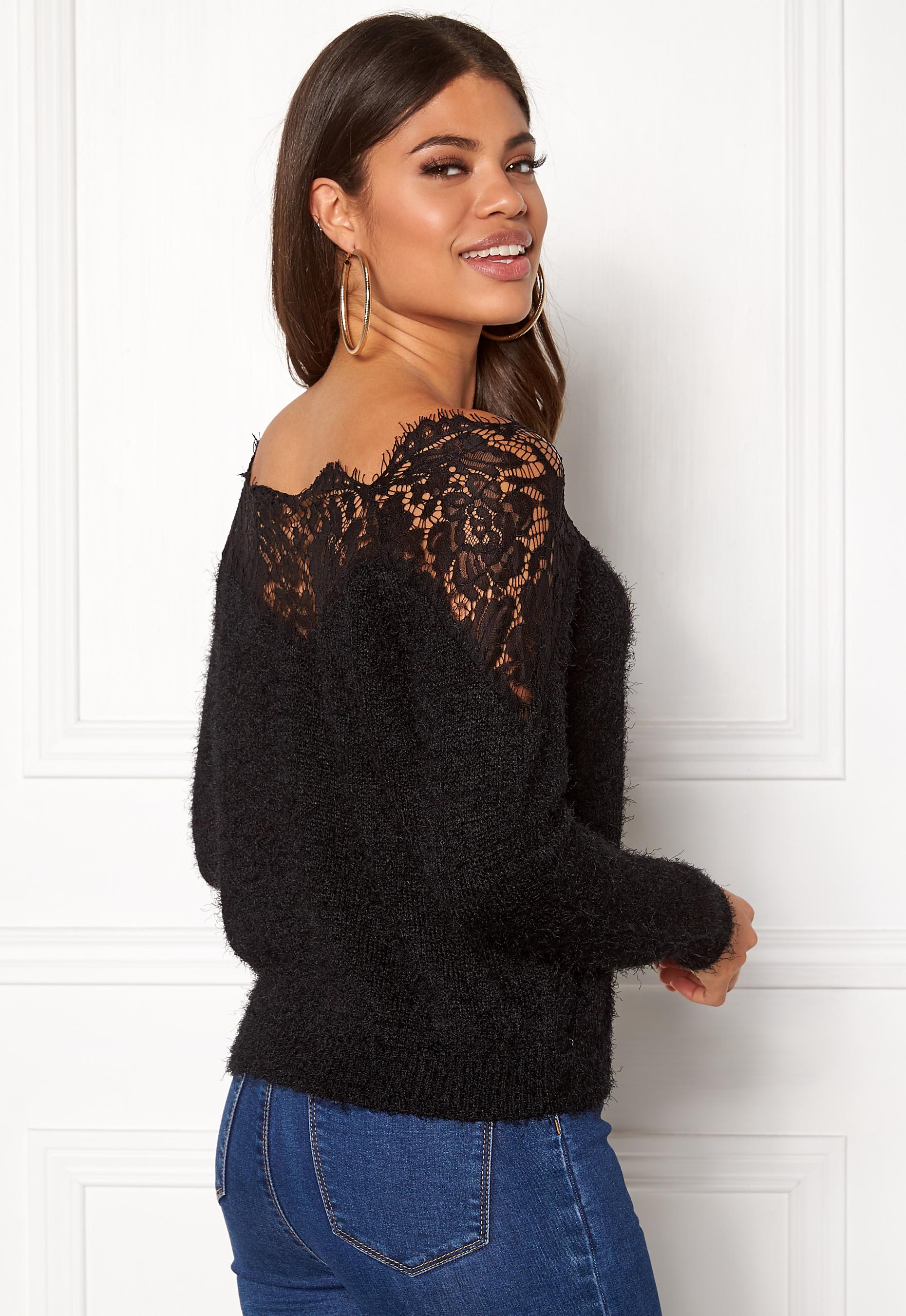 only ally l s pullover knit black bubbleroom. Black Bedroom Furniture Sets. Home Design Ideas