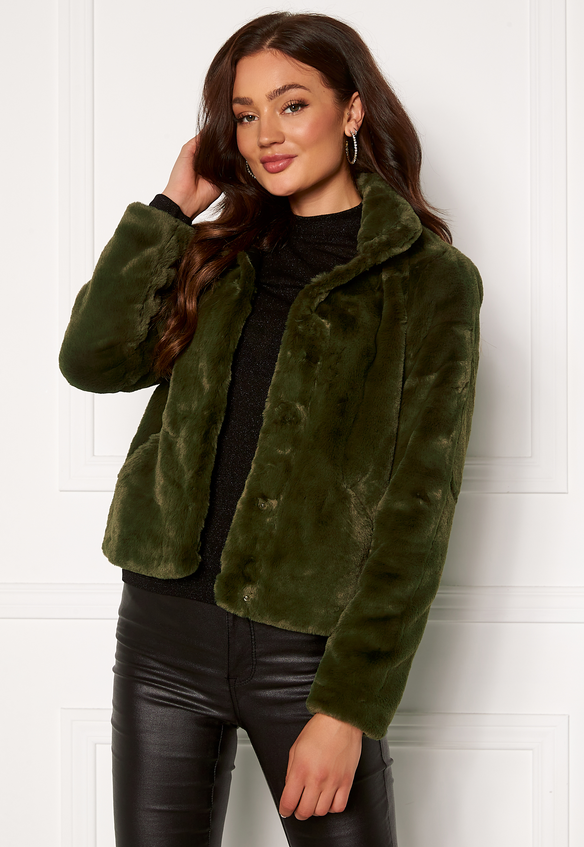 only vida faux fur jacket forest night