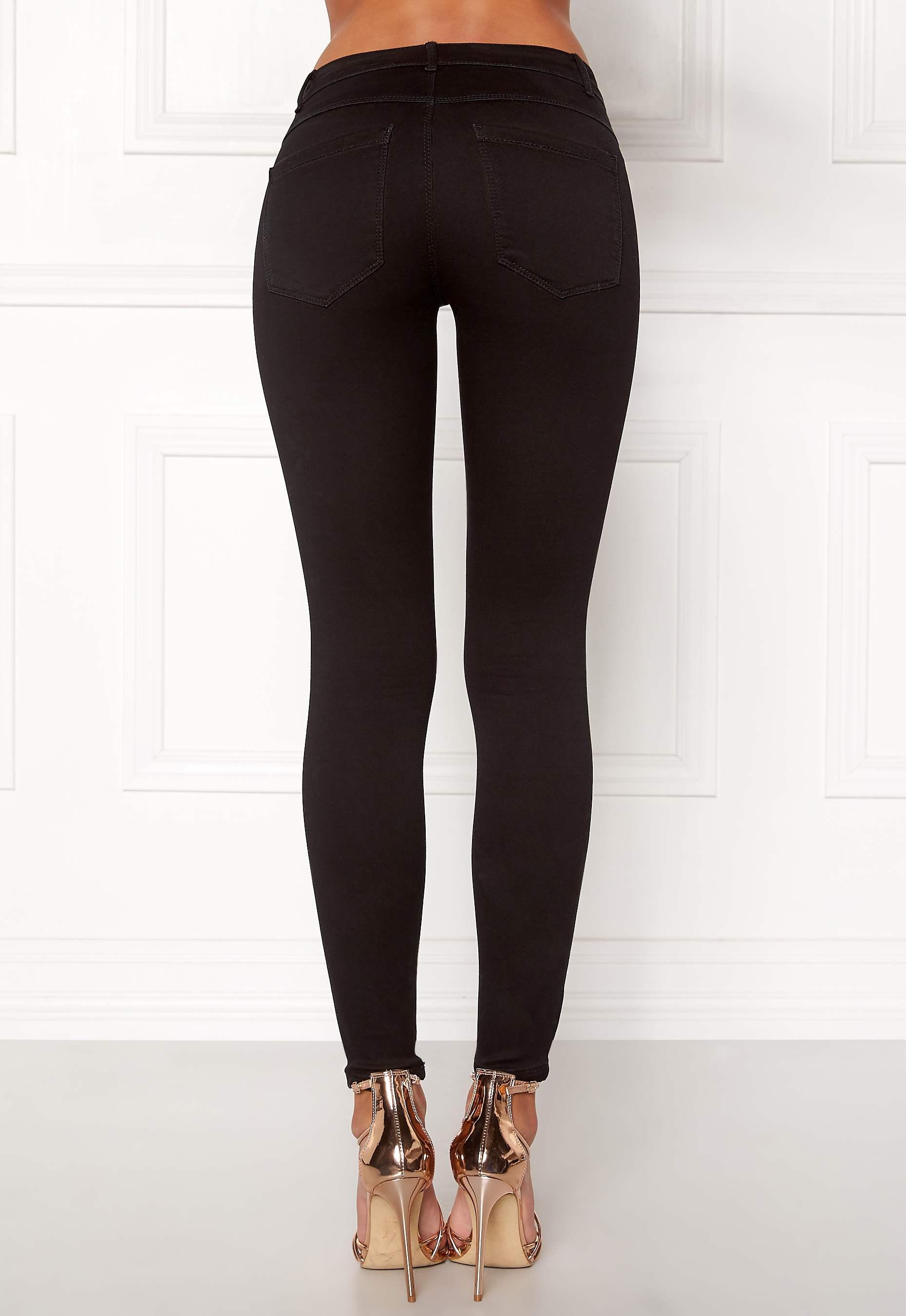 ONLY Royal Skinny Zip Jeans Black - Bubbleroom