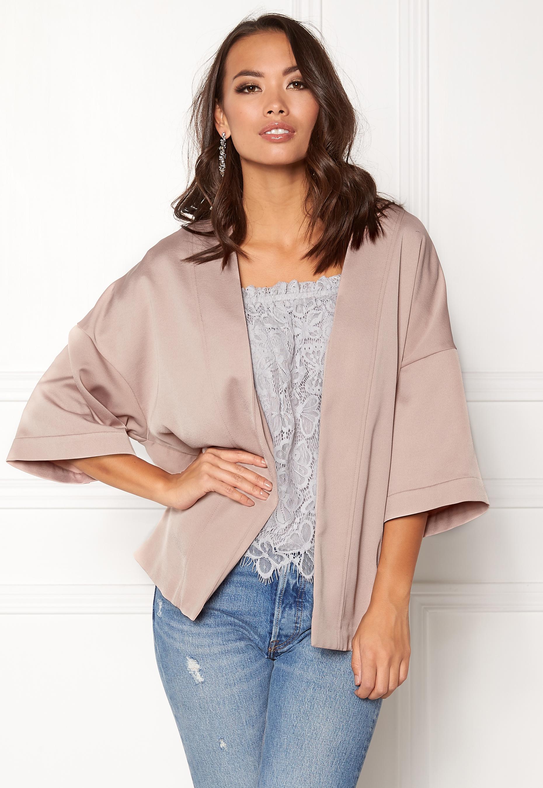 new look satin kimono jacket shell pink bubbleroom. Black Bedroom Furniture Sets. Home Design Ideas