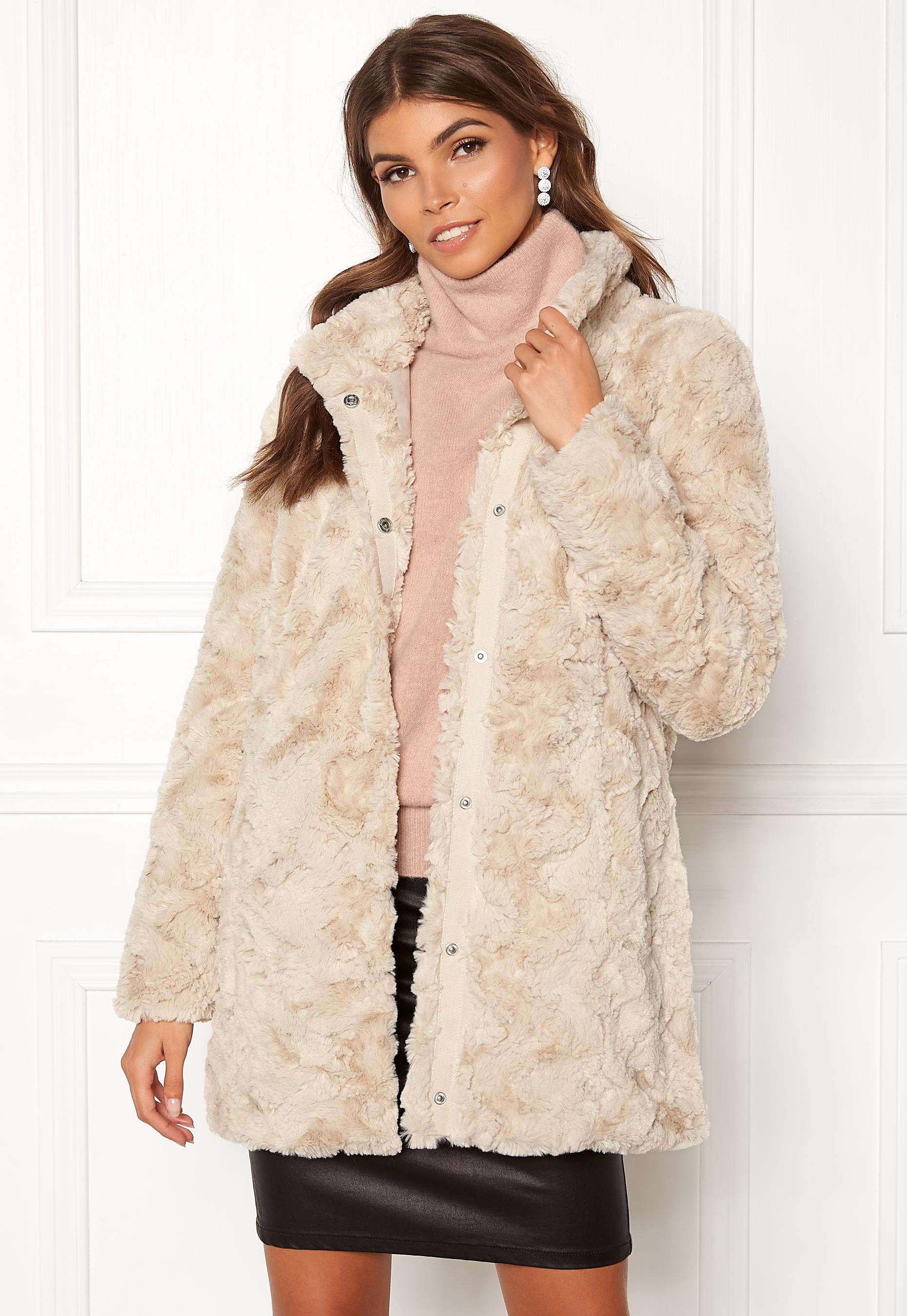VERO MODA Curl Faux Fur Jacket Oatmeal - Bubbleroom 1b7308831475