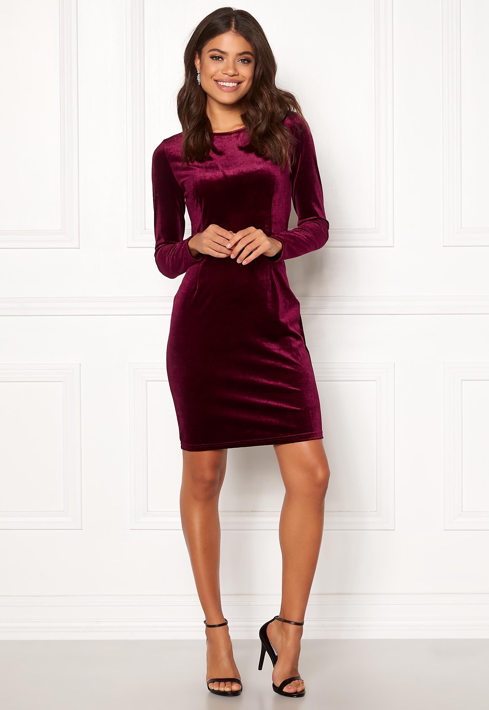 f32f903b63b VILA Fulla L S Open Back Dress Winetasting - Bubbleroom