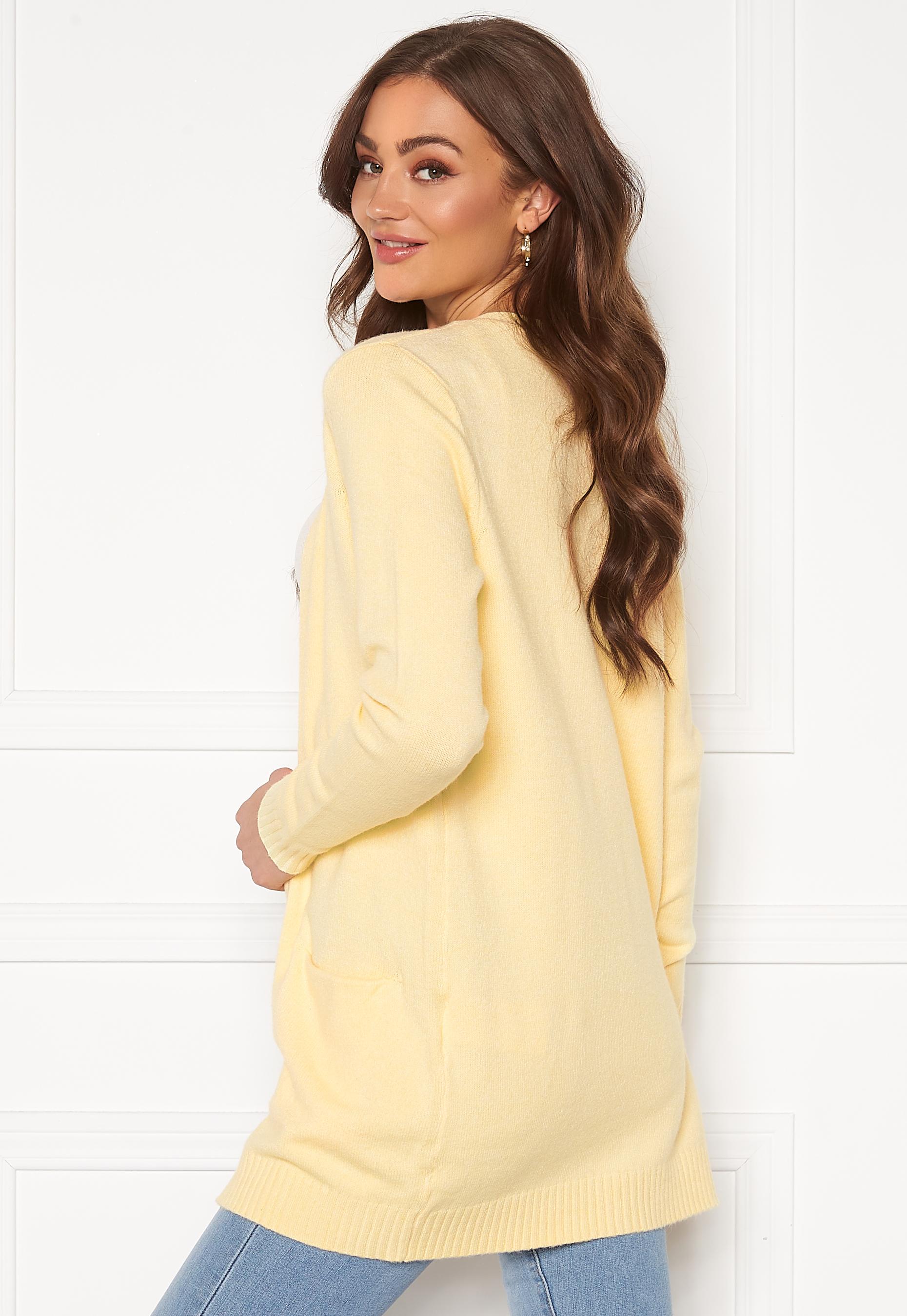 VILA Ril LS Open Knit Cardigan Mellow Yellow Bubbleroom