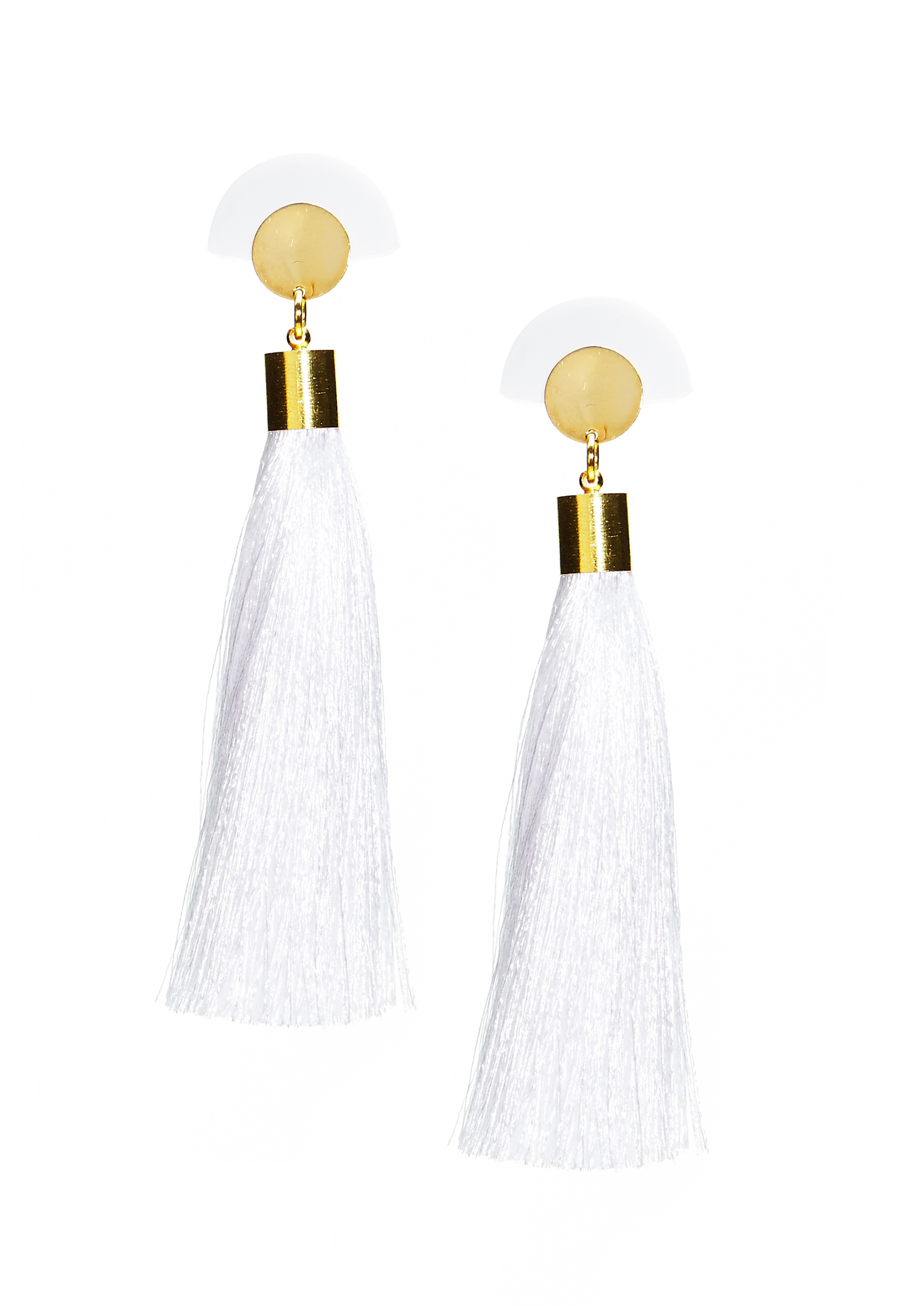 WOS Gloria Tassels Earrings Vit Bubbleroom