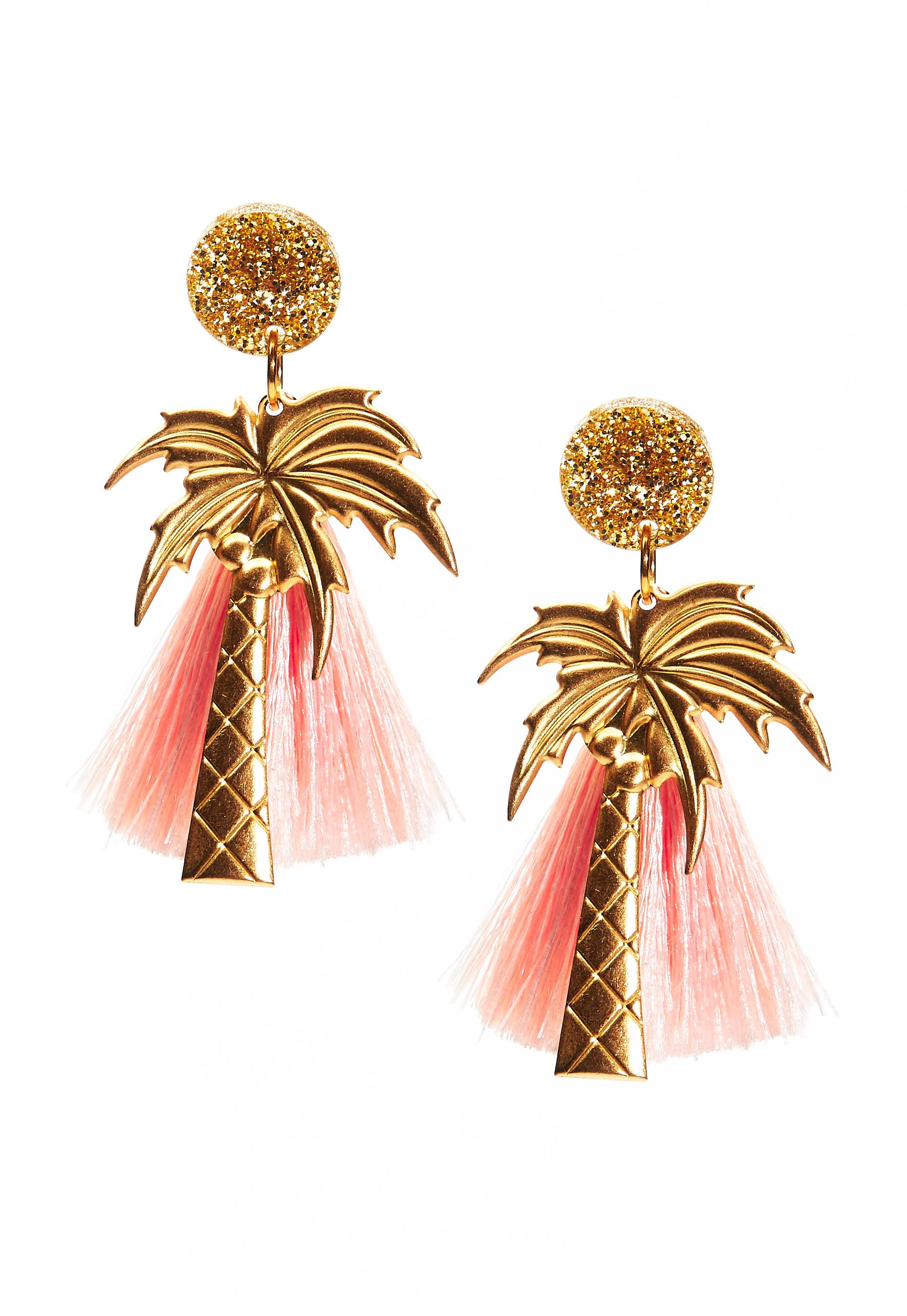 WOS Palm Trees Earrings GuldfärgadAprikos Bubbleroom